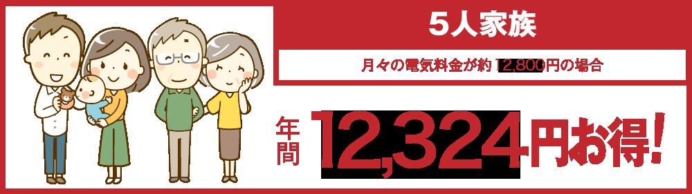 5人家族 年間12,324円お得!