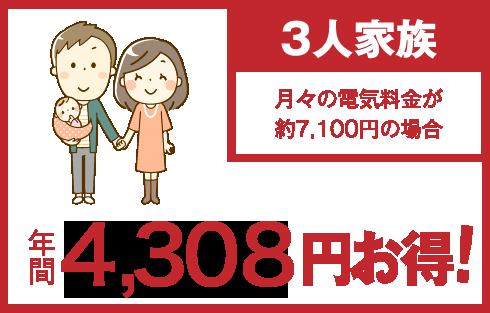 3人家族 年間4,308円お得!