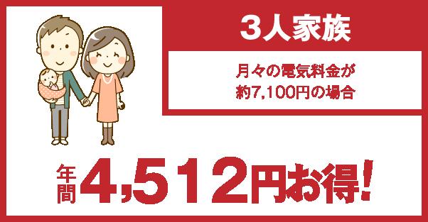 3人家族 年間4,512円お得!