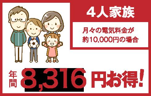 4人家族 年間8,316円お得!